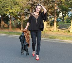 Monday Mingle: Leather, Leopard and Plaid! « Thirty Something Fashion – Carly Walko, Plaid, Styling Plaid Skinnies, ThirtySomethingFashion, My style, winter style, styling red pumps, leopard, Leather, womens fashion