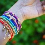 """DIY Wrap Bangles - this would be awesome to do with those little girl bracelets (the plastic kind) that the girls have """"outgrown"""" but still fit. Makes them more big girl!! The jump rings are genius too. I never thought about using them as embelishments!"""