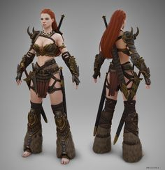 Barbarian Female T-pose by ~Bogdanbl4 on deviantART