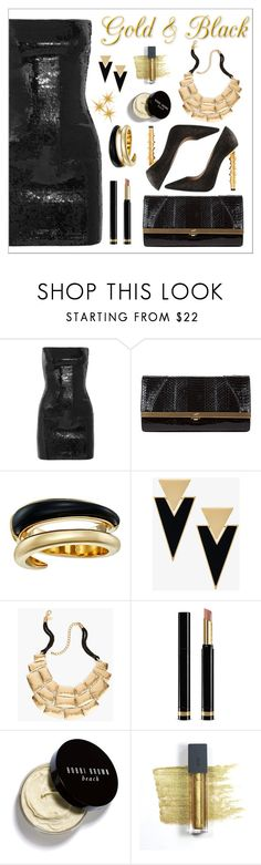 """""""Gold & Black"""" by amchavesj-1 ❤ liked on Polyvore featuring Yves Saint Laurent, Khirma Eliazov, Michael Kors, Chico's, Gucci, Bobbi Brown Cosmetics, Bite and LBD"""