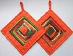 Quilted Pot Holders Quilted Potholders Quilted Hot Pads Orange Fabric Pot Holders Handmade Patchwork Potholders Set of 2 Easter Gift