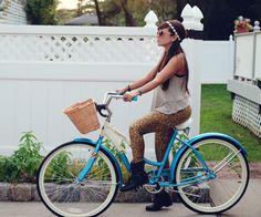 Little Tree Vintage: Bike Style : Leopard Tights & A Blue Schwinn #schwinn #bikes