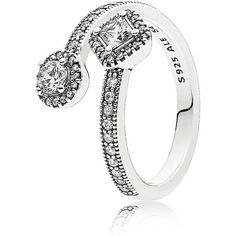 Pandora Ring - Sterling Silver & Cubic Zirconia Abstract Elegance (£72) ❤ liked on Polyvore featuring jewelry, rings, sterling silver jewellery, cubic zirconia rings, sterling silver rings, cz rings and sterling silver cz rings