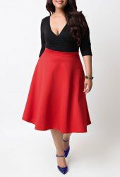 Sexy Plunging Neck 3/4 Sleeve Red and Black Spliced Plus Size Women's Dress