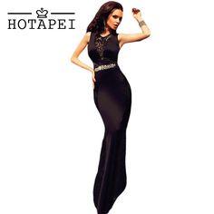 Hotapei Luxury vestidos de fiesta largos Black Lace Embellished Long Maxi  Dress Formal Party Gowns Robe 29c1c66ac7