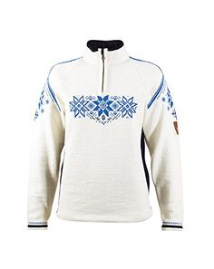 Dale of Norway Women's Holmenkollen Feminine Sweater, Off White/Navy/Cobalt, Medium *** Click on the image for additional details.