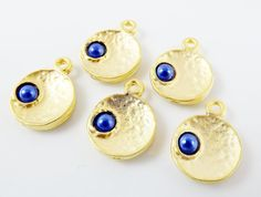 NEW  5 Royal Blue Pearl Bead 22k Matte Gold Plated by LylaSupplies, $4.50