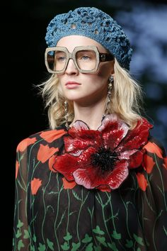 A more oversized crochet beret -- Gucci Spring 2016 RTW