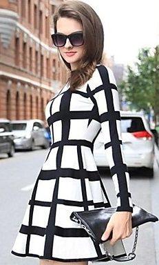 Fashion Check Stripe Long Sleeve Dress