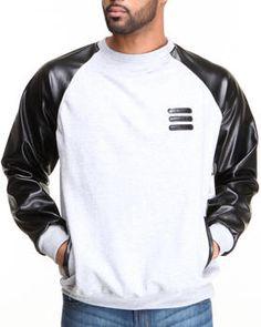 Basic Essentials - Crewneck Sweatshirt with Vegan Leather Sleeves