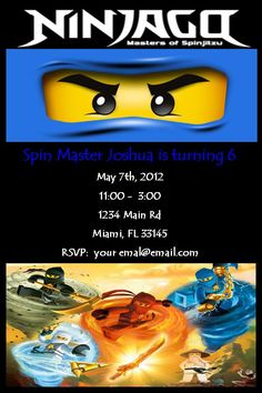 Ninjago Invitation - Ninjago Birthday Invitation - Ninjago Birthday Party Invitation - Ninjago Invites - Ninjago Invitation. $8.00, via Etsy.