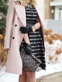 Pink Lady Jacket: Club Monaco   Dress: c/o Eliza J   Necklace: Emerald Bling   Shoes: Kate Spade   Clutch: H&M {old, similar}   Sunnies: Celine   Watch: Michael Kors   Bracelet: J. Crew   Gloves: ASOS