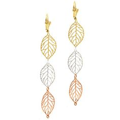 """3"""" Stunning Triple Leaves Long Tri-Color Gold Plated Dangle Earrings"""
