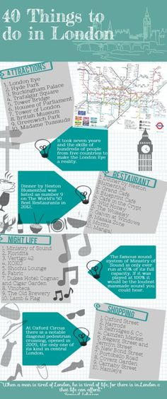 40 things to do in #London #Infographic Checklist #Travel by imogene