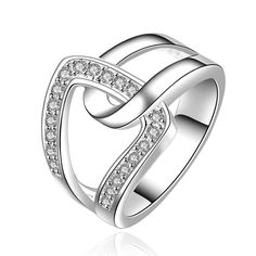 silver plated ring fashion jewelryhand in hand qua ring SMTR634