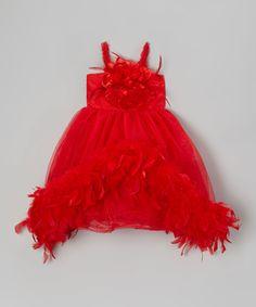Look at this #zulilyfind! Red Flower Boa Dress - Infant, Toddler & Girls by Bébé Oh La La #zulilyfinds