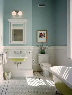 sink, subway tile, hex floor, baseboard...now THAT'S  a beautiful bath...