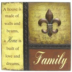 Family with Fleur-De-Lis Metal Wall Decor