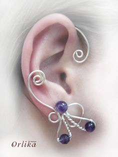 Wire wrapped Punk Ear Wrap Earring with gemstone by Orlika on Etsy
