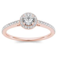 De Couer 14k Rose Gold 1/2ct TDW Diamond Halo Engagement Ring
