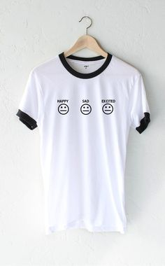 Happy Sad Excited Smiley Ringer Tee from NYCT