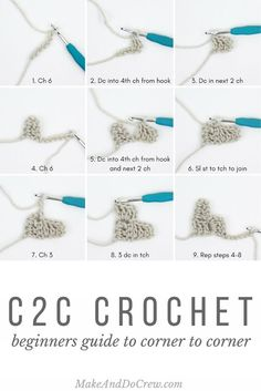 Learn how to corner to corner crochet (c2c) in this beginner tutorial. With c2c crochet you can crochet pictures and words from charts. So fun!