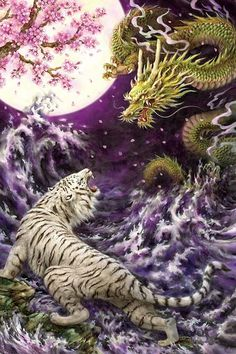 """Dimaond Painting """"Chinese Dragon Fight"""" round diamonds - Famous Last Words Japanese Dragon, Chinese Dragon, Chinese Art, Tiger Dragon, Dragon Art, Japanese Tattoo Art, Japanese Painting, Arte Yin Yang, Dragon Fight"""