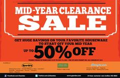Get ready for the MID-YEAR CLEARANCE SALE starting June 12 up to July 31, 2013. Get huge savings up to 50% OFF on your favorite #Gourdos items. July 31, June, Clearance Sale, Your Favorite