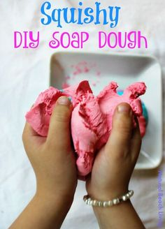 Super Squishy DIY Soap Dough Recipe, Fun Sensory Play, Great Homemade Soap, A Perfect DIY Gift Idea, Kids love this colorful soap sensory experience {Gluten Free! Diy Tumblr, Slime, Diy For Kids, Crafts For Kids, Toddler Crafts, Messy Play, Sensory Play, Sensory Activities, Sensory Bins