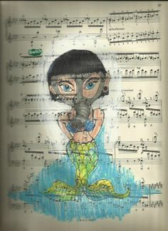 my drawing of a fetish mermaid on music paper