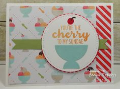 Cardstock:  Thick Whisper White, Crumb Cake, Tasty Treats Specialty Designer Series Paper Stamp Set:  Tasty Treats Accessories: Frozen Treats Framelits, Stitched Shapes Framelits, Circles Framelits, Stitched Big Shot, Wink of Stella
