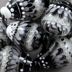 Magma Beads ~Tear Drops~ Handmade Lampwork Beads - What a Fabulous Set of Beads including the spacers! <3<3<3 them :) @