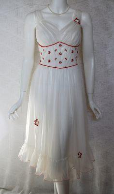 1950s White  Red Peignoir Set Nightgown Robe