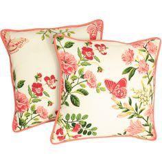 Kissen mit Keder mit einem verspielten Blumendesign und Pinken Schmetterlingen.