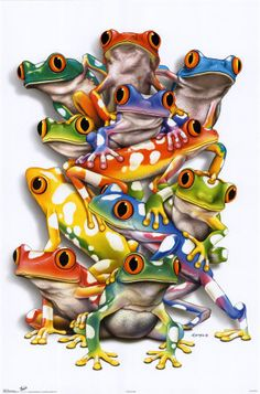vintage prints amphibians and reptiles | Royce - Stacked Frogs - posters, geclee prints, art prints, poster ...
