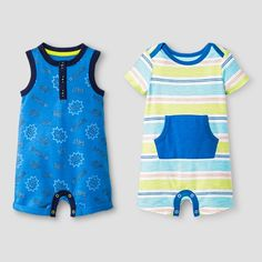 Stock his drawers with easy go to outfits for summer with the Baby Boys' Kanga Pocket and Henley Tank Romper Set - Baby Cat & Jack™ Blue/Stripe. This baby boys' romper set comes with a tank/short romper and short sleeved romper in blue print and pastel stripes. Plus, it's all guaranteed. Cat & Jack is made to last, but if anything doesn't, you can return it up to 1 year later with your receipt.