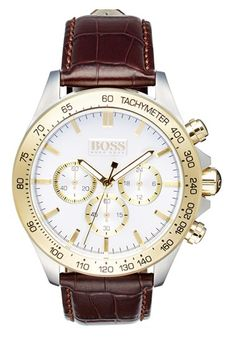 BOSS 'Ikon' Chronograph Leather Strap Watch, 44mm available at #Nordstrom