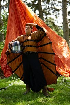 Murdoch Mysteries: Pendrick (Peter Stebbings) strikes a pose in his flying suit. S09 E05