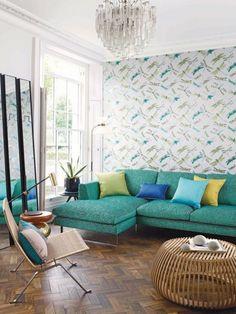 chaisse longue, tapizar, tela Osbosne & Litle, zona de estar, salón, decorar salón,