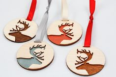 Deer Ornament - Shimmery Teal (Laser Cut). $12.00, via Etsy.