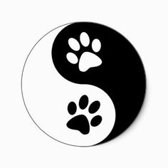 Yin Yang Dog Paws Classic Round Sticker Zazzle Com - Yin Yang Dog Paws Classic Round Sticker Find The Animal Balance Between Positive And Negative With This Black And White Silhouette Dog Paw Print Yin Yang Sign Perfect Dog Lover Gift Idea For The Dog Dog Tattoos, Cat Tattoo, Cat Paw Print Tattoo, Ying Y Yang, Yin Yang Art, Yin And Yang, Rock Painting Designs, Rock Crafts, Trendy Tattoos