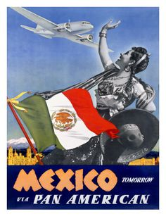 Fly Pan American To Mexico. http://www.posters.co.uk/Airlines-(Vintage-Art)/Custom-Prints/97506/70