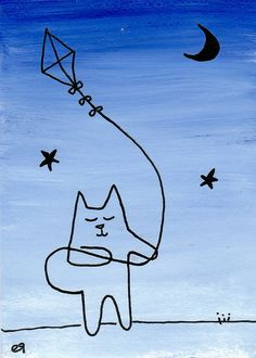 kite by the tail e9Art ACEO Cat Continuous Line Art Cartoon Painting Illustration