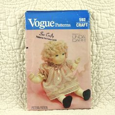 Cloth Doll Pattern, Vogue 592, Linda Carr, Girl, Clothes, Dress, Panties, Shoes, 1980s Uncut, 20 Inch, 2-oz by DartingDogCrafts on Etsy