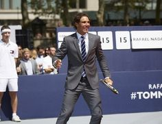 Rafael Nadal unveiled his new underwear collaboration with Tommy Hilfiger at an exciting exhibition match for spectators at NYC's Bryant Park. Rafael Nadal, Tommy Hilfiger Perfume, New Underwear, Bryant Park, Party Pictures, Global Brands, Advertising Campaign, Suit Jacket, Product Launch