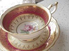 Antique Paragon fuschia pink and gold tea cup set, pink rose