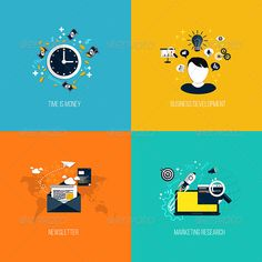Icons for Time is Money, Business Development ... advertising, article, business, concept, consulting, design, development, email, envelope, finance, flat, icon, illustration, internet, mail, management, market, marketing, media, message, new, newsletter, research, search, set, social, spam, strategy, up, web