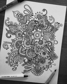 """2,158 Likes, 29 Comments - Simran Savadia (@floral.art) on Instagram: """"Hey guys! Just a black and white doodle :) should I give it some colour? Comment below So a lot…"""""""