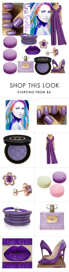 """Pure Purple Paris Sparkles💅"" by mdfletch ❤ liked on Polyvore featuring beauty, Gucci, Dessy Collection, Laura Ashley, Ladurée, Sif Jakobs Jewellery, Versace, Christian Louboutin and parissparkles"