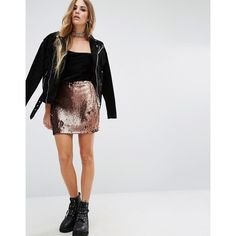 Motel Cherry Sequin Tube Skirt ($42) ❤ liked on Polyvore featuring skirts, copper, cherry skirt, slim skirt, sequin skirt, elastic waist skirt and tube skirt